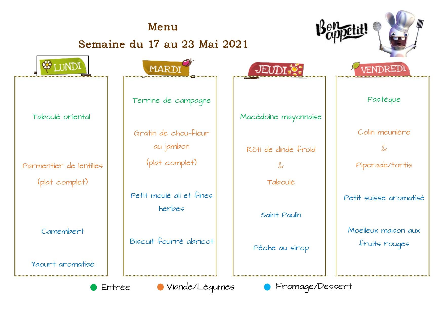 menus de restaurations scolaires